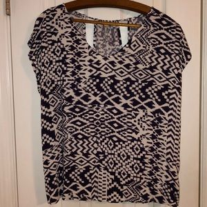 Purple and white size Large blouse